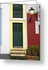 Narrow Yellow Building In Old San Juan Greeting Card
