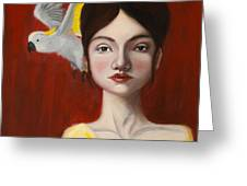 Natalie And Her White Bird Greeting Card