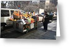New York Street Vendor Greeting Card by Frank Romeo