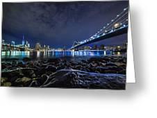 Night View To Manhattan Greeting Card