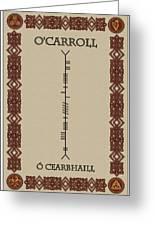 O'carroll Written In Ogham Greeting Card
