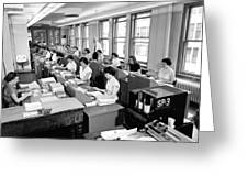 Office Workers Entering Data Greeting Card by Underwood Archives