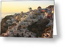 Oia At Sunset Santorini Cyclades Greece  Greeting Card