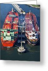 Oil Tankers Docked At Oil Pier, Down Greeting Card