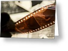 Old Film Strip And Photos Background Greeting Card