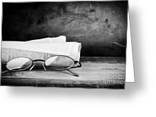Old Glasses On Desk Greeting Card