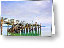 Old Jetty With Steps Maraetai Beach Auckland New Zealand Greeting Card by Colin and Linda McKie