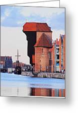 Old Port Crane In Gdansk Greeting Card