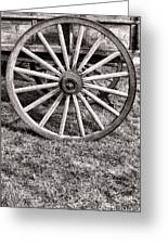 Old Wagon Wheel On Cart Greeting Card