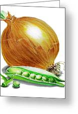 Onion And Peas Greeting Card