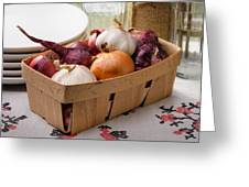 Onions And Garlic In A Crate Greeting Card