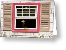 Open Window With Yellow Flower In Vase Greeting Card