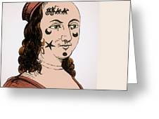 Ornamental Patches On Face 17th Century Greeting Card