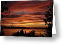 Outer Banks Sunset Over Bay And Colington Island Greeting Card