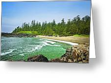 Pacific Ocean Coast On Vancouver Island Greeting Card