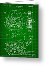 Padlock Patent 1935 - Green Greeting Card