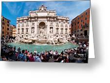 Panoramic View Of Fontana Di Trevi In Rome Greeting Card