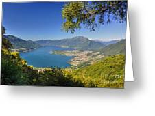 Panoramic View Over An Alpine Lake Greeting Card