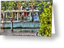 Pelican And Fishing Boat Greeting Card