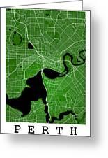 Perth Street Map - Perth Australia Road Map Art On Colored Backg Greeting Card
