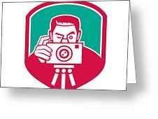 Photographer Shooting Camera Shield Retro Greeting Card