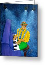 Piano Man Greeting Card by Pamela Allegretto