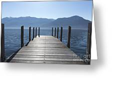 Pier On An Alpine Lake Greeting Card