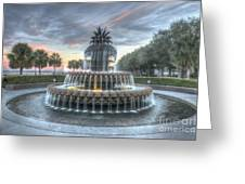Majestic Sunset In Waterfront Park Greeting Card