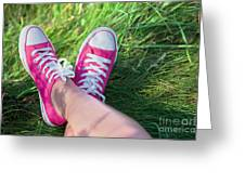 Pink Sneakers On Girl Legs On Grass Greeting Card
