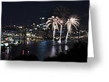 Pittsburgh Fireworks At Night Greeting Card