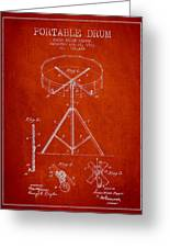 Portable Drum Patent Drawing From 1903 - Red Greeting Card by Aged Pixel