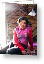 Portrait Of Young Kyrgyz Girl Inside A Yurt China Greeting Card