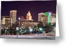 Providence Rhode Island Skyline At Night Greeting Card