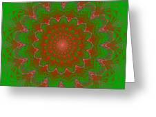 Psychedelic Spiral Vortex Green And Red Fractal Flame Greeting Card