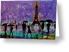 Rain In Paris Greeting Card