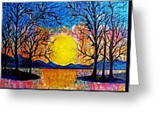 Raining Sunset Greeting Card