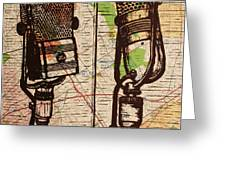 2 Rca Microphones Greeting Card by William Cauthern