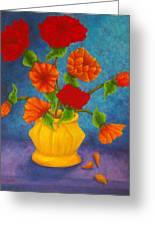 Red And Orange Flowers Greeting Card