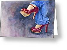 Red Heels And Jeans Greeting Card