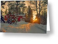 Red House In The Winter Greeting Card