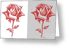 2 Red Roses Poster Greeting Card