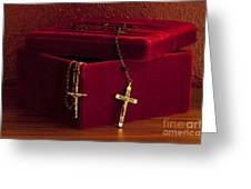 Red Velvet Box With Cross And Rosary Greeting Card