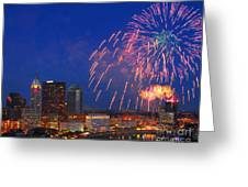 D21l-10 Red White And Boom Fireworks Display In Columbus Ohio Greeting Card
