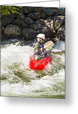 Red Whitewater Kayak Greeting Card