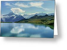 Reflection Of Clouds And Mountain Greeting Card