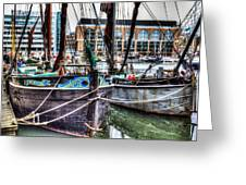 River Thames Sailing Barges. Greeting Card