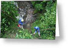 Rock Climbing Rope Climbing Costa Rica Vacations Waterfalls Rivers  Recreation Challanges  Facilitie Greeting Card