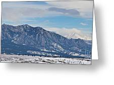 Rocky Mountains Flatirons And Longs Peak Panorama Boulder Greeting Card