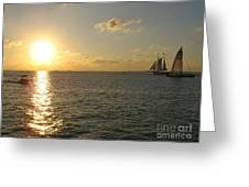 Sailing Into The Sunset - Key West Greeting Card