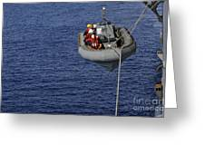 Sailors Lower A Rigid-hull Inflatable Greeting Card